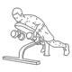 Fitness oefeningen rug - dumbbell roeien schuine bank - thumb