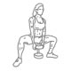 Benen fitness oefeningen - pie squat dumbbell - thumb