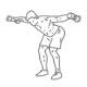 Fitness oefeningen schouder - voorovergebogen delta flyes dumbbell - thumb