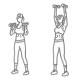 Fitness oefeningen schouders - staand dumbbell drukken neutrale greep thumb