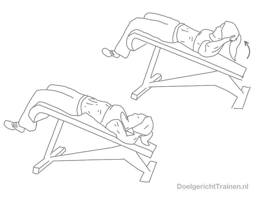 Buikspier oefeningen - crunch achteroverhellend - afbeelding