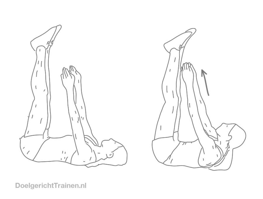 Buikspier oefeningen - crunch met gehefde benen - afbeelding