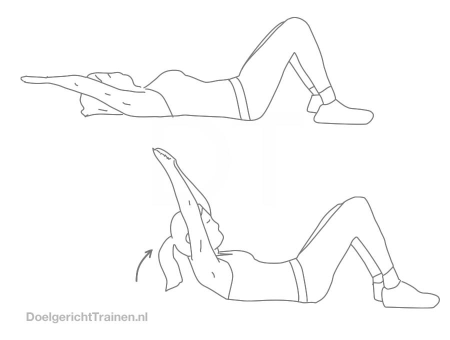 Buikspier oefeningen -crunchen armen boven