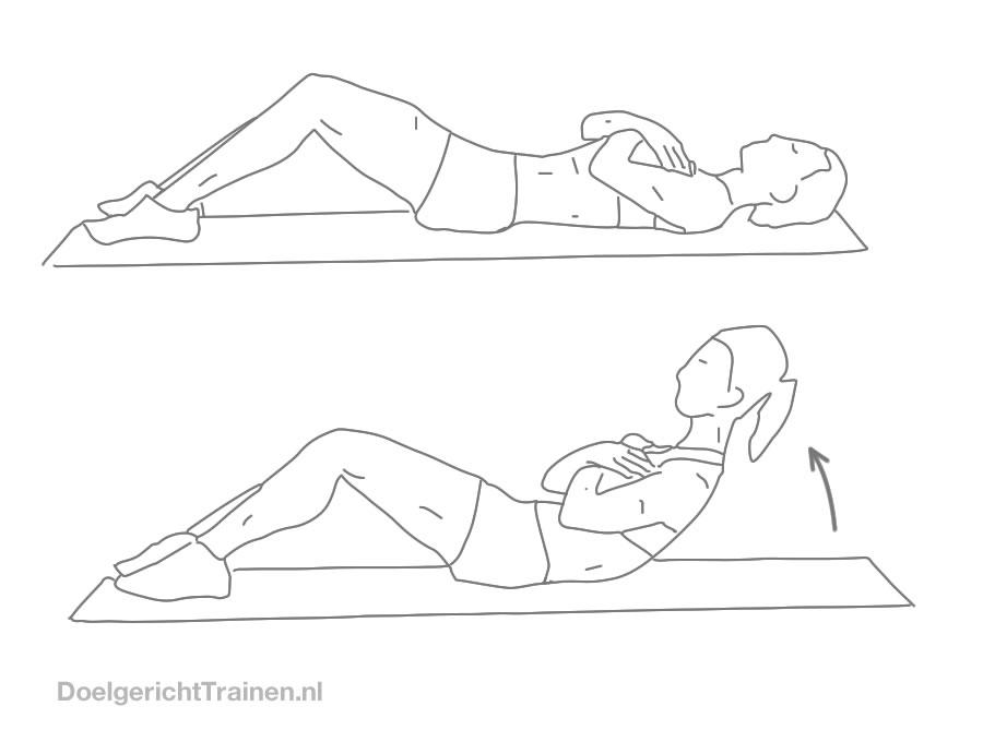Buikspier oefeningen - crunchen met armen voor - afbeelding