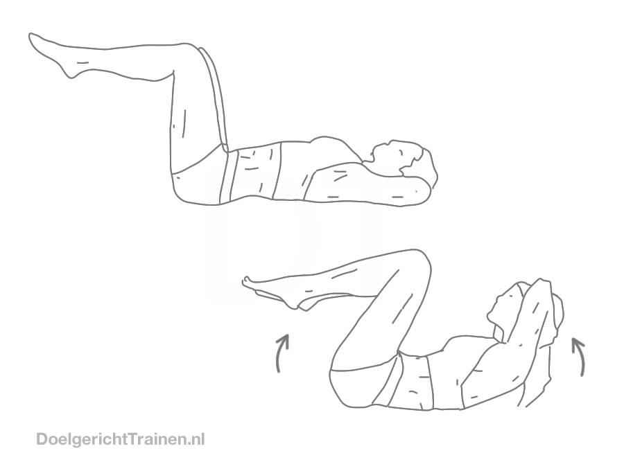 Buikspier oefeningen - dubbele crunch