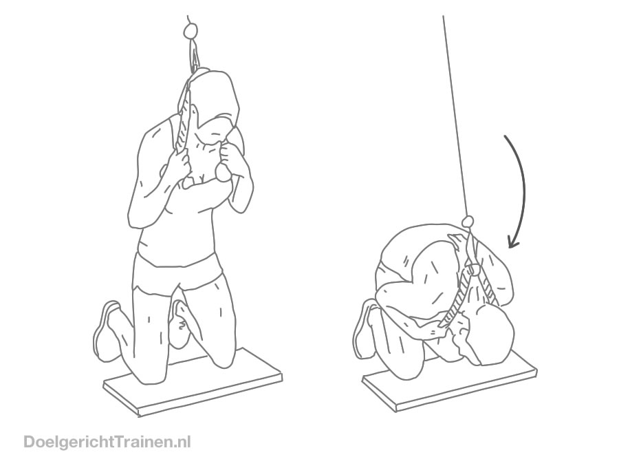 Buikspieren oefening - crunch met kabel - afbeelding