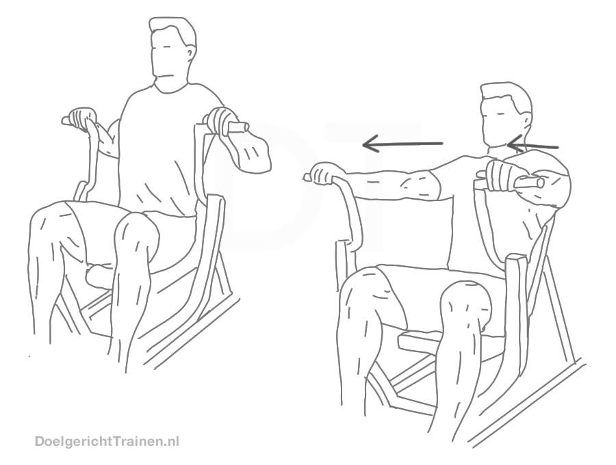 Fitness oefeningen borst - zittend borstdrukken machine - afbeelding