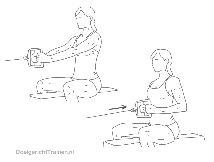 Fitness oefeningen rug kabel roeien smalle greep - afbeelding