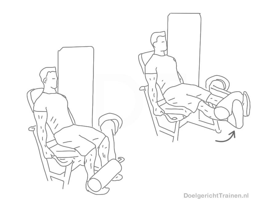 Benen fitness oefeningen - beenstrekken uitleg en tips