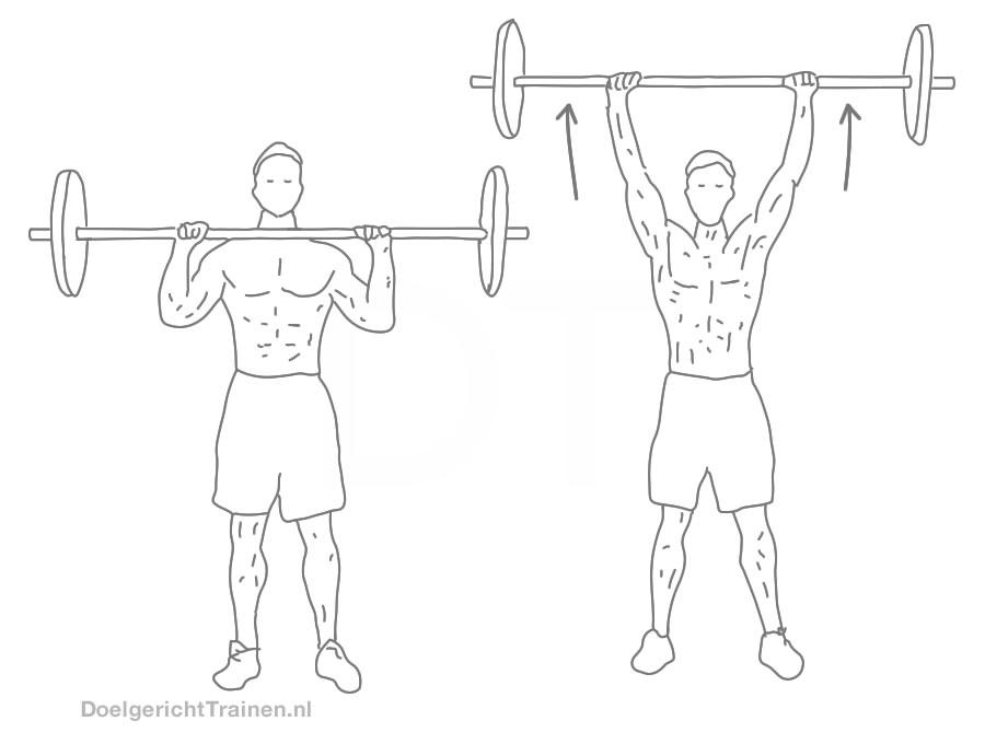 Fitness oefeningen schouders - staand halter drukken