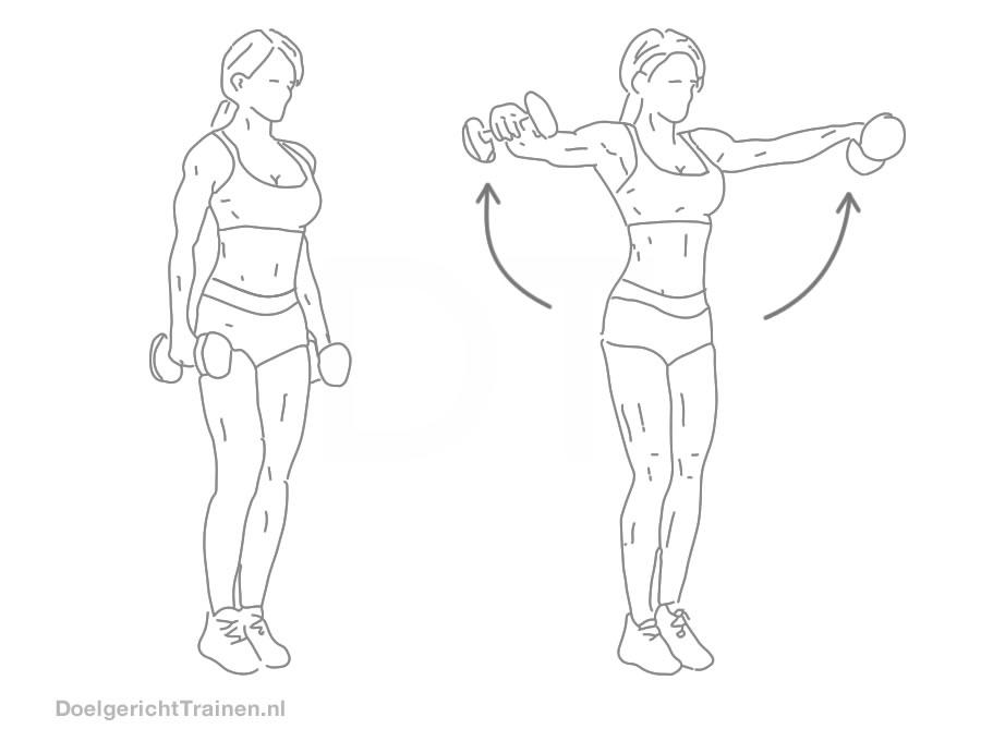 Fitness oefeningen schouders - zijwaarts dumbbell heffen