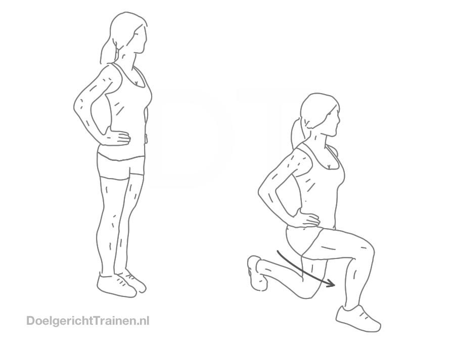 Bodyweight oefeningen benen - lunges met lichaamsgewicht