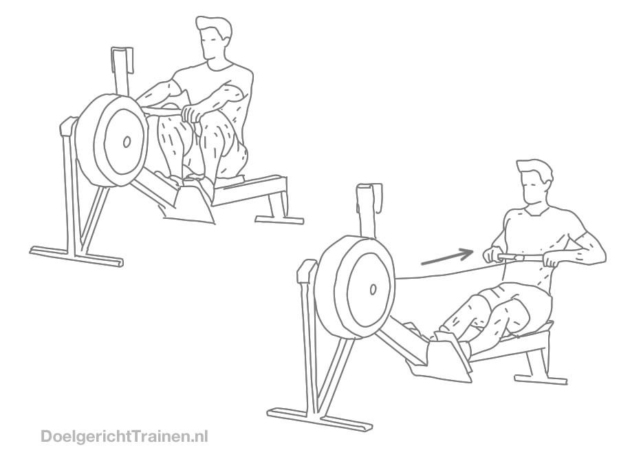 Fitness cardio oefeningen - roei apparaat - tekening