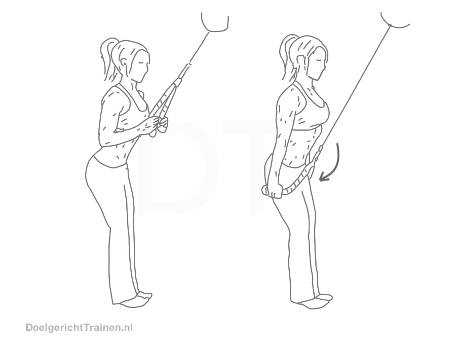 Fitness oefeningen armen - triceps pressdown touw - afbeelding