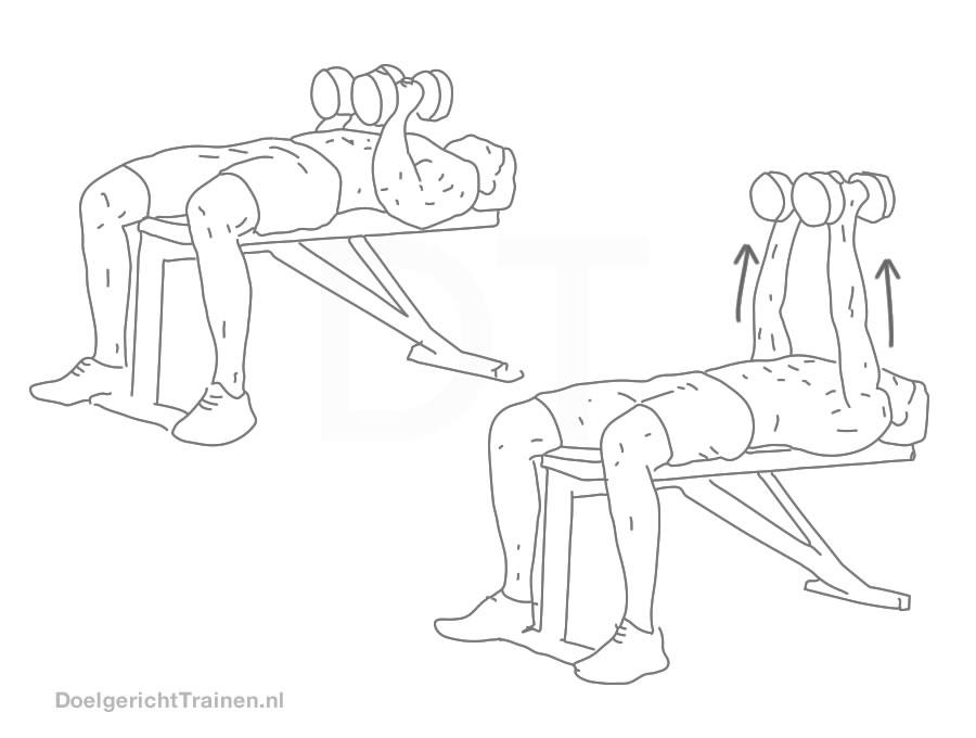 Fitness oefeningen triceps - dumbbell drukken smalle greep