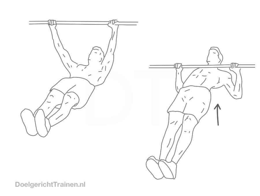 Rug oefeningen bodyweight - horizontaal optrekken - afbeelding
